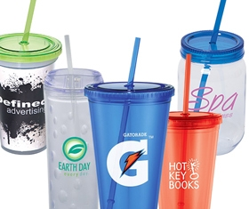 Drinkware with Straws
