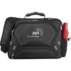 A black checkpoint-friendly slim computer attache with white logo and red umbrella in the pocket on the side