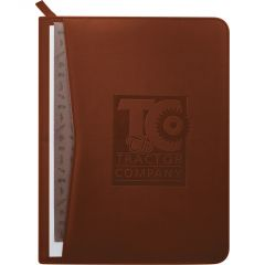 A terracotta coloured zippered padfolio with a debossed logo on the front