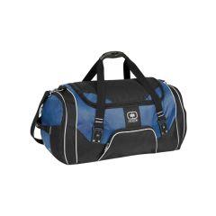 A blue and black duffle bag
