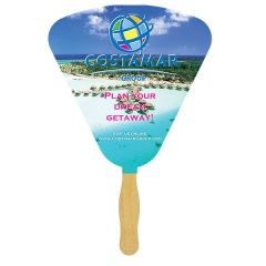 A seashell shaped sandwich fan with a glued wooden handle and a seashell shaped paddle with a full colour logo
