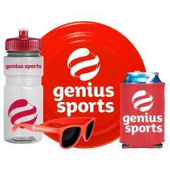 A 20oz clear water bottle with a red lid and logo beside red shades with a white logo. Beside these is a red drink koozie with a white logo and a can of soda. Behind these items is a red flyer disk with a white logo.