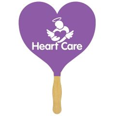 A purple sandwich hand fan with a wooden handle and a white logo on the paddle