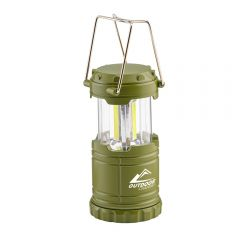 An army green small collapsible lantern in the open position with a white logo printed on the front