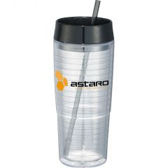a clear 20oz acrylic tumbler with a back lid and straw and a yellow and black logo