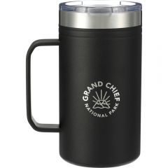 A black and stainless steel 24oz thermal mug with and engraved logo and a clear lid