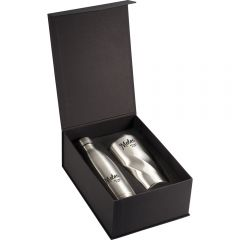A silver 17oz copper vacuum bottle and 20oz tumbler both with full colour logos inside an open black presentation box