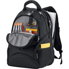 An angled view of black computer backpack slightly unzipped to show silver coloured inside