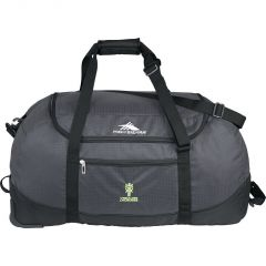 grey 30 inch wheeled packable duffle with green logo