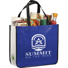 A blue and white grocery filled laminated non woven shopper with white logo