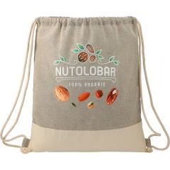 A natural and grey coloured split recycled cotton drawstring bag with a full colour logo