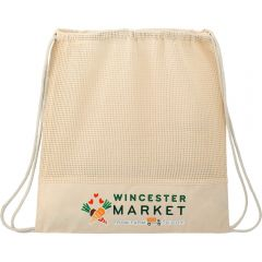 A natural coloured cotton mesh drawstring bag with a full colour logo