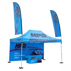 blue 600D polyester 10x15ft custom tent package with full back wall one table cloth and two feather flags