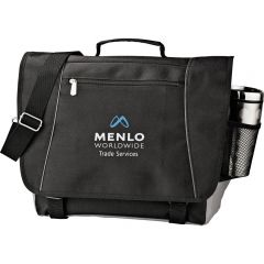 "A black 15"" compu-messenger bag with a blue and white logo"