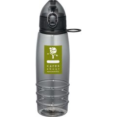 22oz BPA free black translucent sport bottle with black lid and green and white logo