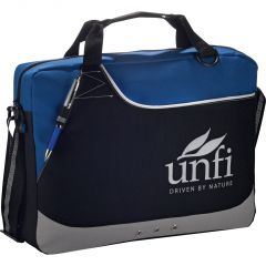 A black royal blue with grey accents briefcase with a grey logo