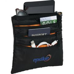 black seat pack organizer with full colour logo and contents inside