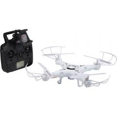 A white WiFi drone with camera and a black logo on the top beside a black remote control