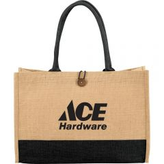 A jute box style tote with black accents and handles and a black logo
