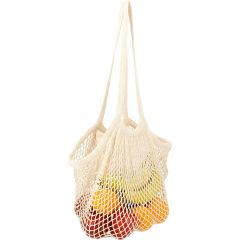 A natural coloured cotton mesh market bag filled with fruit