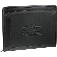 A black zippered tech padfolio with a debossed logo on the front