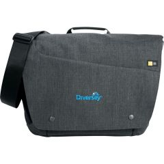 A grey 15.6 inch computer messenger bag with a blue logo