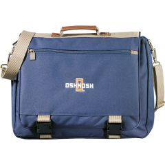 A blue expandable saddle bag with taupe accents and a white and orange logo on the front