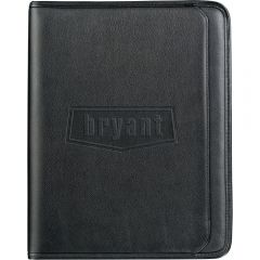 A black leather writing pad with a debossed logo on the front