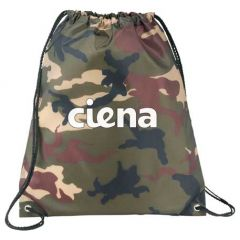 camouflage drawstring backpack with white logo
