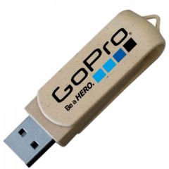 beige coloured USB swivel drive with full colour print