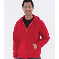 A red fleece full zip hooded sweatshirt being worn by a man with one hand in his pocket