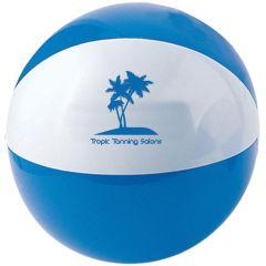 A blue and white beach ball with a blue logo