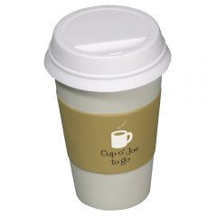 A white and tan coloured coffee cuup to go shaped stress reliever with a white and black logo on the tan sleeve