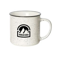 350mL white speckled mug with black rim and logo