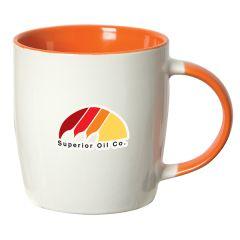 350mL white stoneware mug with orange interior and handle and multicoloured logo