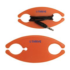 two images of orange oval shaped cable or cord organizer one with cable wound through it and both with blue logos