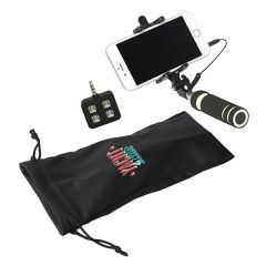 black selfie addict starter tech kit with full colour logo on bag and smartphone attached to selfie stick