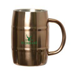 450mL copper glossy barrel mug with green logo