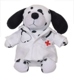 "The front view of a 6"" plush dalmatian wearing a doctors coat"