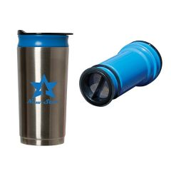 475mL stainless steel and blue travel coffee press with a blue logo stood next to the blue interior press part