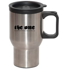 silver 500mL travel mug with black handle and lid and a black logo