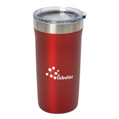 600mL red and silver travel mug with a white logo and clear lid
