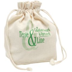 natural coloured cotton lunch bag with green logo