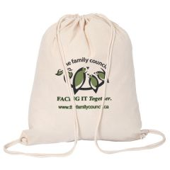 natural cotton drawstring bag with green and black logo