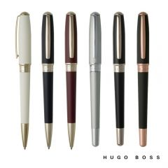 Six pens in different colours with Hugo Boss accents. The pen on the left is turned sideways but the rest face clip forward
