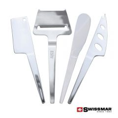 Four slim-line cheese knife utensils that are 1 spreader, 1 cheese cleaver, 1 soft cheese knife, and 1 cheese plane.
