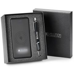 black powerbank and pen gift set in open gift box with the lid behind it showing a silver logo