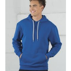 A true royal coloured hooded sweatshirt being worn by a man with his hand sin his pockets
