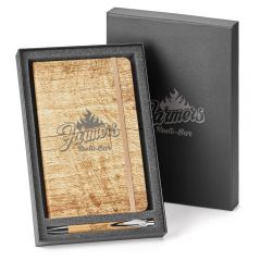 wood finish 2pc journal gift set with grey logo showing packaging