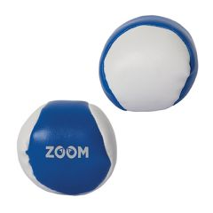 Two royal blue and white hackey sack style balls with one showing a white logo